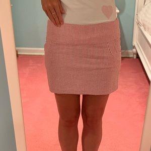 Aqua Red Seersucker Skirt